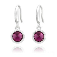 6mm Sterling Silver Round Drop Earrings Made With Swarovski Crystals Boxed