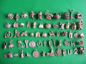 T) VINTAGE STERLING SILVER CHARMS CHARM BELL CHIM CAR CHERUB HORSE SHOE BOOT  H