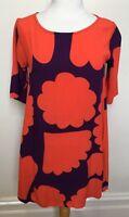MISTER ZIMI Orange Purple Shapes Round Neck Viscose Slip On A-Line Dress 8