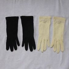 2 VINTAGE PEARL BEADED GLOVES BLACK & WHITE with APLIQUE BEADS