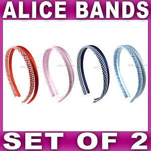 GINGHAM & Plain ALICE BAND SET check school uniform headband hair aliceband NEW
