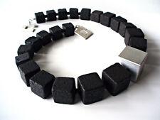 A Sign *Black Mamba* Lava Würfel Halskette/Kette Alu gebürstet Schwarz/Silber