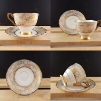 VINTAGE RARA PORCELLANA INGLESE ROYAL STAFFORD TAZZA TÈ E PIATTINO DECORO CHINTZ