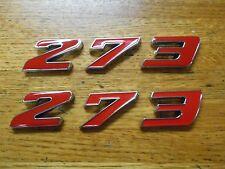 DODGE PLYMOUTH 273 V8 ENGINE ID FENDER QUARTER PANEL HOODSCOOP TRUNK EMBLEMS RED
