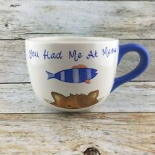 "Style Eyes Pet Pun Mug Oversize ""You Had Me At Meow"" Cat Fish White Blue Orange"