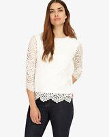 Phase Eight Tessa 3/4 Sleeve Lace Top White Size UK 12 LF170 EE 16