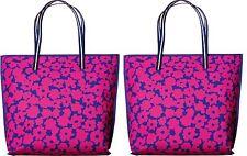Estee Lauder large pink blue purple daisy floral tote bag purse shopper set of 2
