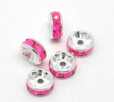 8mm HOT PINK Rhinestone Spacer Rondelle Beads 10 pieces bme0030