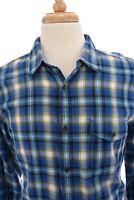 Lucky Brand Mens Flannel Button Down Shirt Up Tartan Plaid Blue Sz Medium
