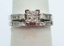 10k White Gold Square Diamonds Halo Style Engagement Ring Bridal Wedding Set