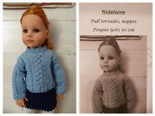 Pattern/fiche 11 tricot pull torsades poupée Gotz 50 cm