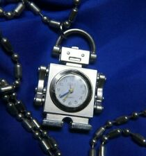 "DBS ROBOT SILVER TONE 1 1/2"" PENDANT WATCH ON A 34"" SILVER TONE CHAIN A15"