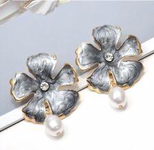 new zara style gold leaf enamel flower drop pearl rhinestone crystal earrings
