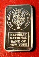 Johnson Matthey Republic National Bank of New York Bar 1 Troy oz.999 Fine Silver