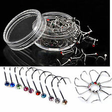 10PC Stainless Steel Body Piercing Jewelry Crystal Nose Bone Gem Stud Screw Ring