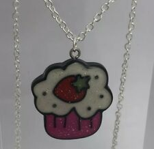 Hot Pink Glitter strawberry Cupcake Pendant Necklace I200 3 Cm  Kawaii