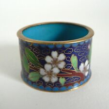ANTIQUE NAPKIN RING HOLDER ENAMEL CLOISONNE STYLE INLAY BRASS CERAMIC FLORAL VGC