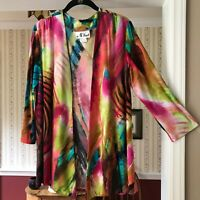 N Touch Open Cardigan Stretch Sweater Colorful Watercolor Long Sleeve Size S
