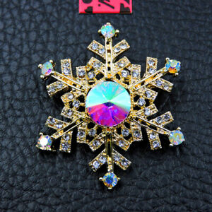 Colorful Rhinestone Christmas Snowflakes Betsey Johnson Charm Brooch Pin Gift