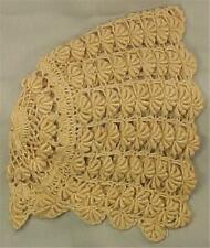 Antique Ladies Crocheted Bonnet Sleep Hat Shell Pattern Ecru A Beauty