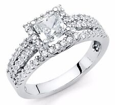 Square Princess Cut Sterling Silver Platinum Diamond Solitaire Engagement Ring