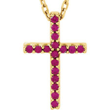 "Ruby Cross 16"" Necklace In 14K Yellow Gold"