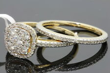 10K YELLOW GOLD .97 CARAT WOMENS REAL DIAMOND ENGAGEMENT RING WEDDING BAND SET