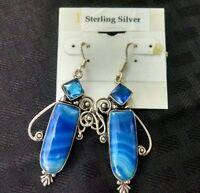 Earrings Sterling Silver Wires Botswana Agate & Blue Topaz Handmade Unique
