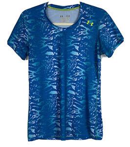 Under Armour womens heatgear t shirt sonic print short sleeve blue size M
