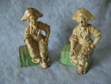 Vintage Pirate On Treasure Chest Cast Iron Book Ends Painted