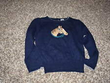 JANIE AND JACK 3 3T NAVY BLUE HORSE SWEATER RIDING LESSON