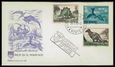 SAN MARINO FDC 1965 DINOSAURS DINOSAUR STEGOSAURUS T-REX THAUMATOSAURUS bk76
