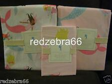 Pottery Barn Kids Summer Preppy Mermaid Twin Duvet Shams Breton Sheet Set 5-pc