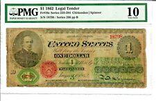 1862 $1 Fr16c Legal Tender Large Note Civil War Currency Pmg Vg-10 #4004