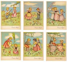 Lotto 6 cartoline con disegni augurali Pasquali, bimbi  anni '50 T97