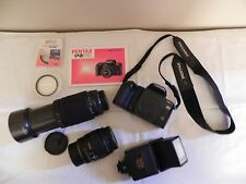 Pentax PZ-70 35mm film camera w/ 28-90mm & 70-300mm lens, filters, flash, & bag