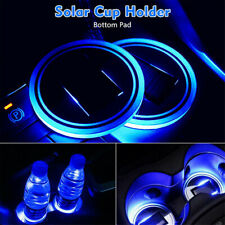 2 Pack Blue Car Cup Holder SUV Solar Pad Mat Cover Energy Bottom LED Light Trim