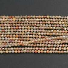 """Natural Zircon Round 2.5mm Micro Faceted Gold Orange Yellow Beads 16"""" Strand"""