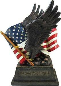 "Patriotic American Eagle Statue Sculpture ""In God We Trust"""