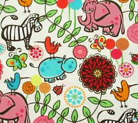 Elephant Lion Zebra Safari Party Cotton Quilting Fabric Springs Creative BTY