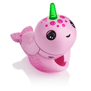 Fingerlings Light Up Narwhal - Rachel (Pink) -  Interactive Toy by WowWee