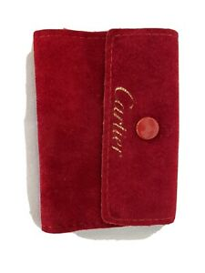 """NEW!  Authentic Cartier Travel Ring Pouch Small 3 1/2"""" X 2 1/2"""" Red Suede"""