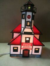 COCA-COLA STAINED GLASS LIGHTED BUILDING