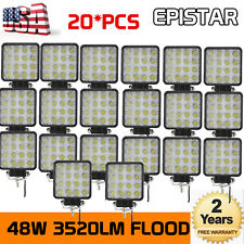 "20X 48W 4"" Flood LED Work Light Fog Lamp for JEEP Offroad boat Truck Driving UTE"