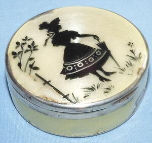 ANTIQUE 1922 TRINKET PILL BOX STERLING SILVER & GUILLOCHE ENAMEL CHARLES & COHEN