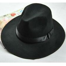 Women Men Vintage Blower Jazz Hat Trilby Derby Cap Fedora Style Hats Black LA