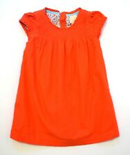 Boden Girls Pintuck Ruffled Floral Lined Orange/Red Corduroy Dress, 2-3 yrs