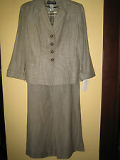 New, Linen/silk, wide leg pant (6) suit. Jones NY. 3/4 sl. blazer, sz 4 NWT