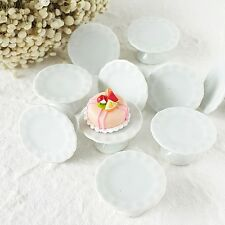 5x Cake Stand Display Bakery Dollhouse Miniatures White Ceramic Supply Barbie