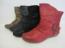 Spot On Ladies Ankle Boots  F50337 Black, Red, Navy or Taupe UK 3 X 8  (R14A)